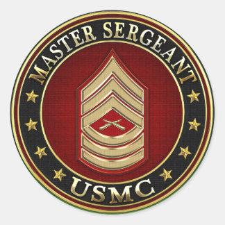 U.S. Marines: Master Sergeant (USMC MSgt) [3D] Classic Round Sticker