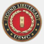U.S. Marines: Second Lieutenant (USMC 2ndLt) [3D] Round Sticker