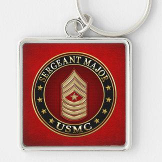 U.S. Marines: Sergeant Major (USMC SgtMaj) [3D] Silver-Colored Square Keychain