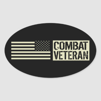 U.S. Military: Combat Veteran (Black Flag) Oval Sticker