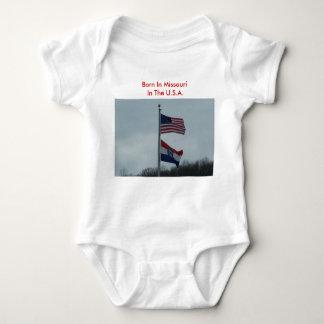U.S.&Mo. Flags, Born In Missouri In The U.S.A. Baby Bodysuit