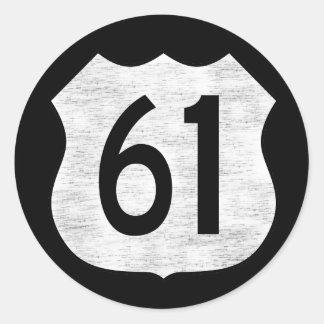 U.S. Muestra de la ruta de la carretera 61 Pegatina Redonda