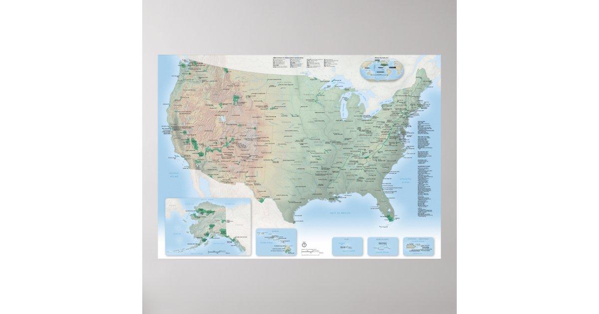 U.S. National Parks map poster   Zazzle.com