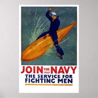 U.S. NAVY Poster - World War Sailor Rides A BOMB!