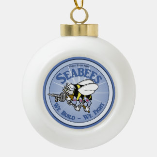 U.S. Navy Seabee Ceramic Ball Christmas Ornament