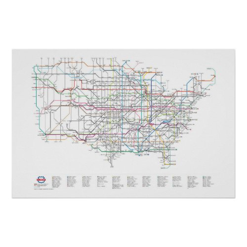 US Numbered Highways as a Subway Map Poster