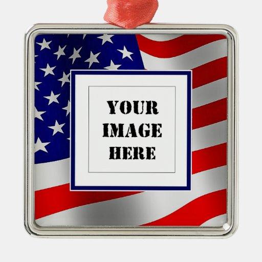 U.S. Ornamento de encargo de la foto de la bandera Ornamento Para Arbol De Navidad