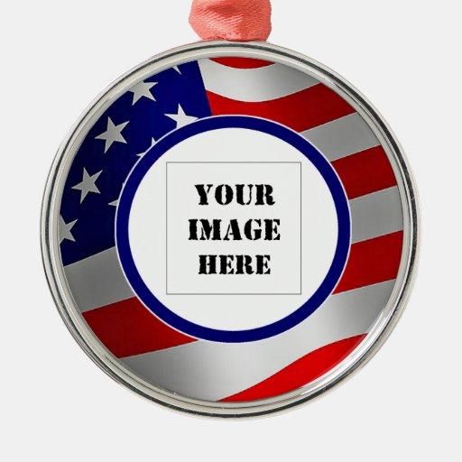 U.S. Ornamento de encargo de la foto de la bandera Ornamentos Para Reyes Magos
