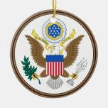 U.S. Ornamento de encargo del navidad de Army® Adorno Navideño Redondo De Cerámica