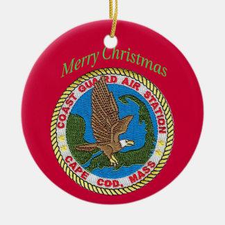 U.S. Ornamento del navidad de Cape Cod de la Adorno Redondo De Cerámica