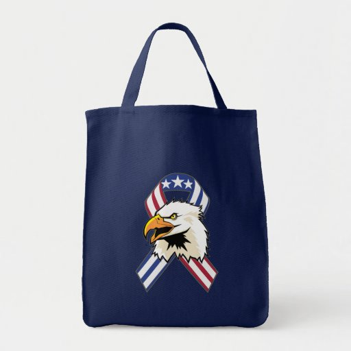U.S. Patriotic Eagle Flag Grocery Tote Bag