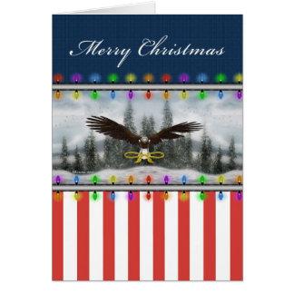 U.S. Patriotic Eagle Merry Christmas Blank Card