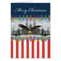 U.S. Patriotic Eagle Merry Christmas Greeting Card at Zazzle