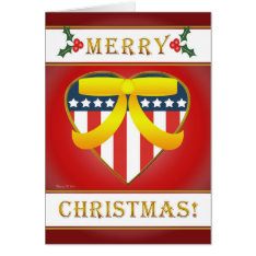 U.s. Patriotic Heart Blank Christmas Greeting Card at Zazzle