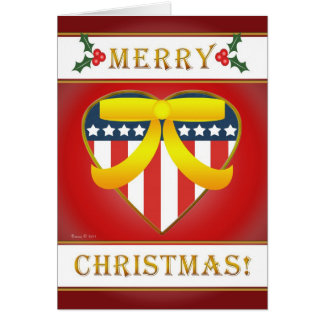 U.S. Patriotic Heart Blank Christmas Greeting Card