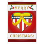 U.S. Patriotic Heart Merry Christmas Greeting Card