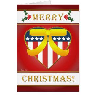 U.S. Patriotic Heart Merry Christmas Greeting Card