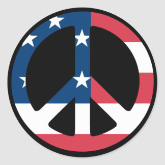 U.S. Peace Sign Classic Round Sticker