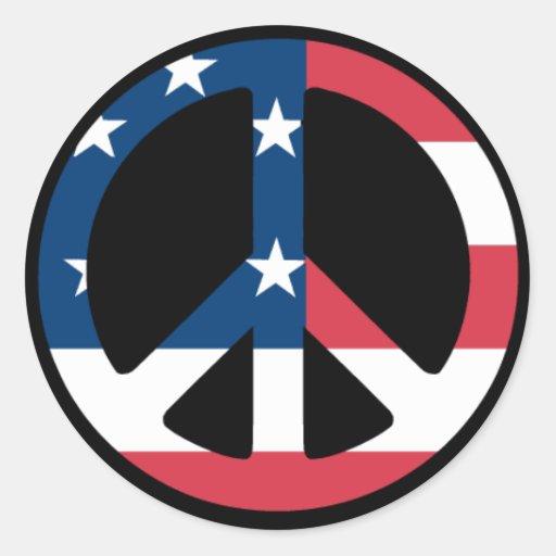U.S. Peace Sign Classic Round Sticker
