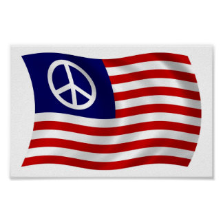 U.S. Peace Sign Flag Poster Print