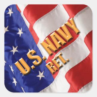 U.S. Pegatinas de la marina de guerra Pegatina Cuadrada