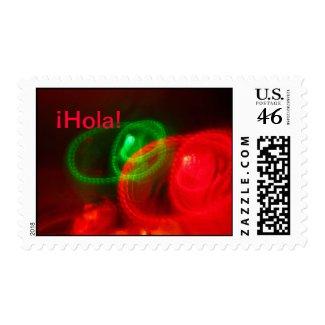 U.S. Postage Stamp - ¡Hola! - Rojo y Verde