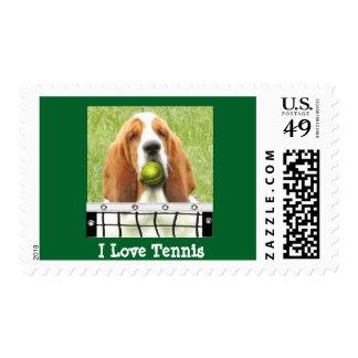 """U.S. Postage Stamp"" ""I Love Tennis"" with Basset"