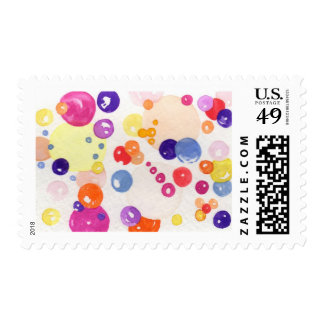 U S Postage Stamps Watercolor Print Bubbles