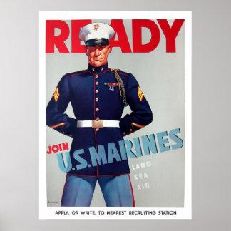 U S Poster del listo del vintage del Cuerpo del