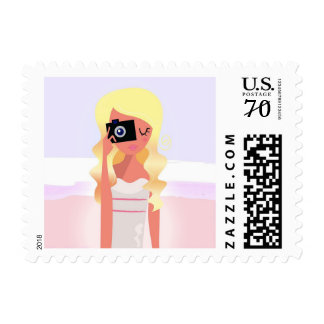 U.S. Poststamp with Model Blond girl Postage