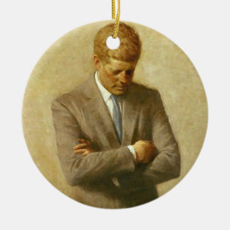 U.S. President John F. Kennedy by Aaron Shikler Double-Sided Ceramic Round Christmas Ornament