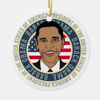U.S. Presidente Barack Obama Adorno Navideño Redondo De Cerámica