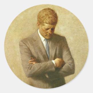 U.S. Presidente John F. Kennedy de Aaron Shikler Etiquetas Redondas
