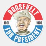 U.S. Presidentes Campaign Sticker: #26 Roosevelt Etiquetas Redondas