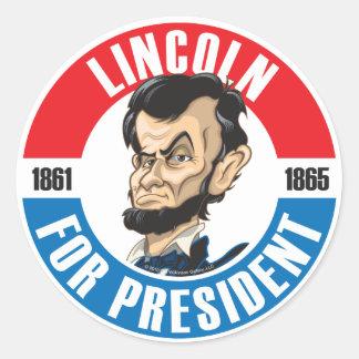 U.S. Presidents Campaign Button: #16 Lincoln Classic Round Sticker