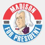 U.S. Presidents Campaign Button: #4 James Madison Classic Round Sticker