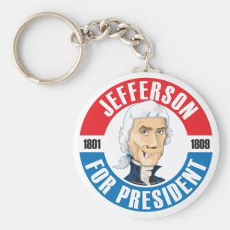 U.S. Presidents Campaign Keychain: #3 Jefferson Basic Round Button Keychain