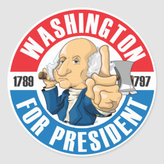 U.S. Presidents Campaign Sticker: #1 Washington Classic Round Sticker