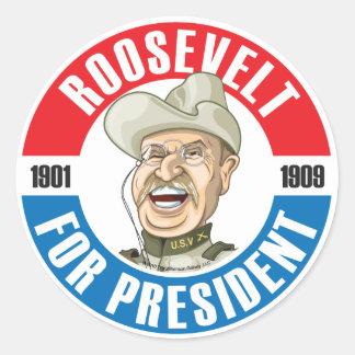 U.S. Presidents Campaign Sticker: #26 Roosevelt Classic Round Sticker