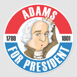 U.S. Presidents Campaign Sticker: #2 John Adams Classic Round Sticker
