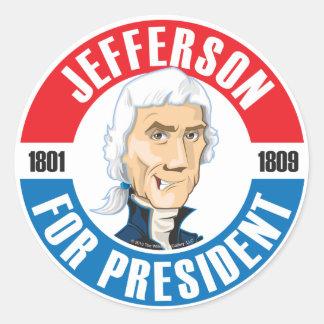 U.S. Presidents Campaign Sticker: #3 Jefferson Classic Round Sticker