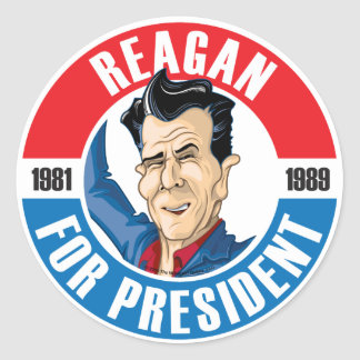 U.S. Presidents Campaign Sticker: #40 Reagan Classic Round Sticker