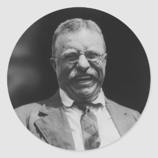 U.S. Risa de presidente Theodore Teddy Roosevelt Pegatina Redonda