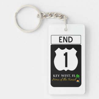 U S Route 1 Road Sign Rectangle Acrylic Keychain