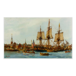 U.S.S. Barco de la Armada de Alfred de Nowland Van Póster