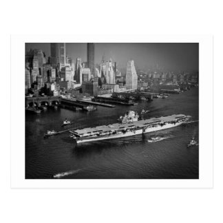 U.S.S. Hornet Sails Down East River New York City Postcard