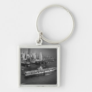 U.S.S. Hornet Sails Down East River New York City Silver-Colored Square Keychain