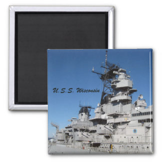 U.S.S. Wisconsin 2 Inch Square Magnet