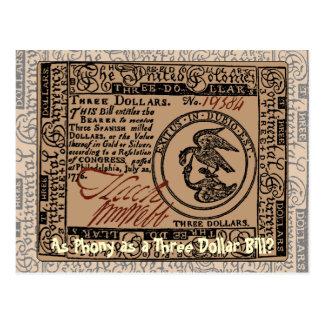 U.S. Three Dollar Bill: Confused? - Postcard