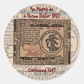 U.S. Three Dollar Bill: Confused? - Sticker